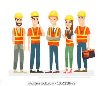 Vector illustration of construction workers team characters. Men and women in uniforms and helmets on white background in cartoon flat style.