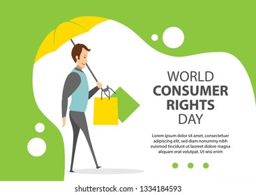 Vector Illustration Consumer Rights Day with umbrella, banner, landing page