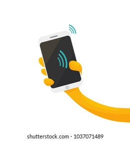 Vector illustration for contactless payments promotion or NFC paying: cartoon styled hand, smartphone and wireless pay symbol.