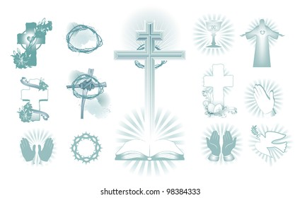 vector illustration contains the image of a set of religious symbols of Easter