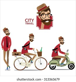Vector illustration contains set of city traveler in three different situations