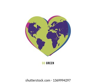 Vector illustration continuous drawing of the heart shaped world. Eco concept.