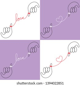Vector Illustration, Continuous one line drawing, Hands connected by the red string of fate on white and violet background