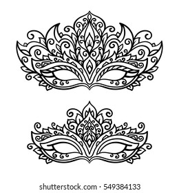 vector, illustration, contor, mask, set, holiday, carnival, masquerade, Mardi Gras, coloring page