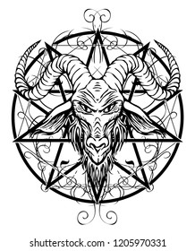 Vector illustration with a contour drawing of the head of a horned goat and pentagram with curlicues inscribed in a circle. The symbol of Satanism Baphomet on white background