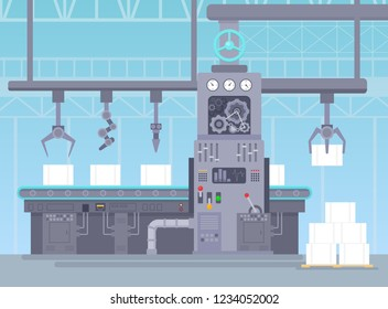 Vector illustration of conveyor in manufacturing warehouse. Factory industrial concept. Conveyor production and packing a packages on belt line in flat cartoon style.