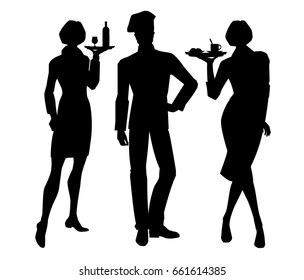 Vector illustration of cook chief and waitress silhouettes  in formal clothes isolated on white background.