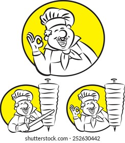 Vector illustration of cook gesturing ok sign