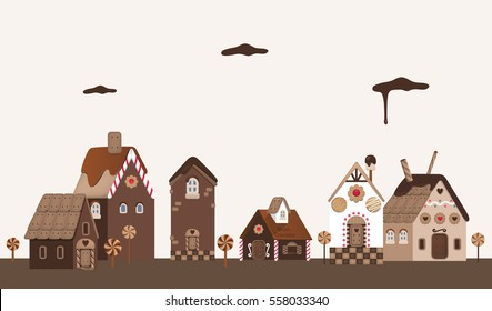 Vector illustration of cookie houses with chocolates, cookies, biscuits and sweets.