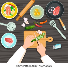Vector illustration of Cooking concept. Top view illustration of chef's hands and kitchenware utensils with food