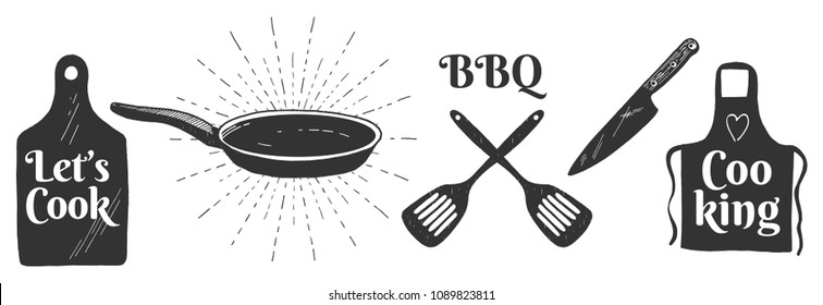 Vector illustration of cooking icons set. Cutting board, frying pan with a sunburst, flippers, chef knife, apron. Lets cook, BBQ labels. Vintage hand-drawn style.
