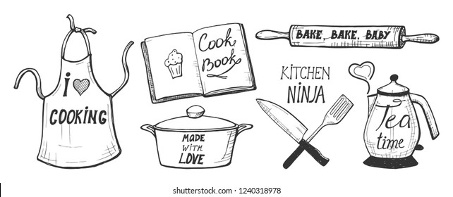Vector illustration of a cooking labels, badges, fun calligraphy hand written compositions. Apron, cook book, pan, rolling pin, chef knife, spatula, kettle. Love, kitchen ninja, tea time, bake baby.