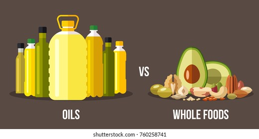 Vector illustration of cooking oils vs. high-fat whole foods. Healthy eating concept. Flat style.