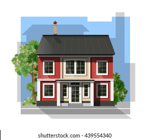 Vector illustration of  cool detailed family  house.  Private residential architecture. Traditional cottage in flat style. Real estate icon. Villa facade. Vintage style house.