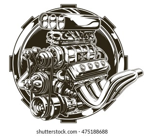 A vector illustration of Cool detailed hot road motor engine with skull tattoo