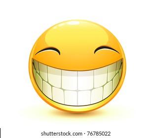 Vector illustration of cool glossy Single Emoticon
