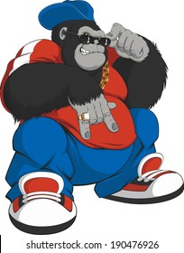 Vector illustration: cool gorilla in a tracksuit