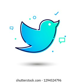 Vector Illustration Cool And Modern Social Network Twitter Bird Icon