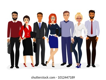 Vector illustration of cool vector set of business characters. International business team, beautiful business women and handsome businessman, group of office workers in flat cartoon style.