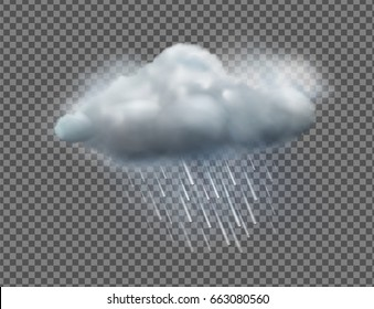 Vector illustration of cool single weather icon with cloud and heavy fall rain isolated on transparent background
