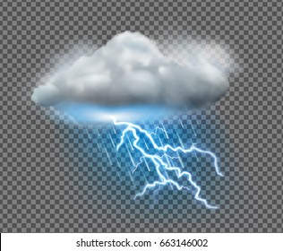 Vector illustration of cool single weather icon with cloud, heavy fall rain and lightning on transparent background