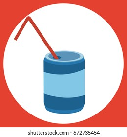 Vector illustration of a cooling drink. Stylized soda. Cartoon icon of a drink from fast food.
