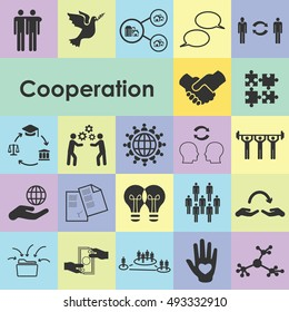 vector illustration of cooperation icons for visualizing teamwork collaborating communication sharing concepts