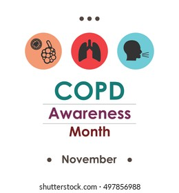 vector illustration for  COPD Chronic Obstructive Pulmonary Disease Awareness Month in november