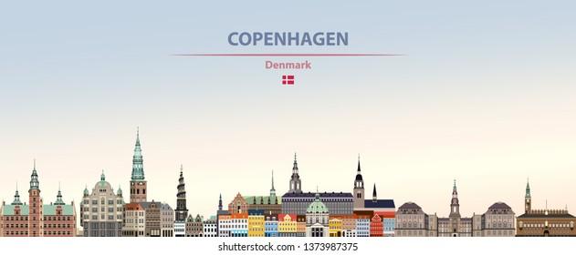 Vector illustration of Copenhagen city skyline on colorful gradient beautiful day sky background