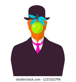 vector illustration: a copy of Renee Magritte self-portrait