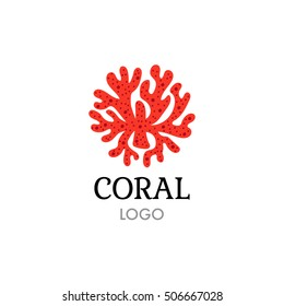 Vector illustration of a coral. Company branding sign. Bright coral branch.