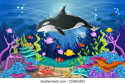 Vector illustration with coral reef and fish. amazing sea-animal illustrations with beautiful underwater scenery