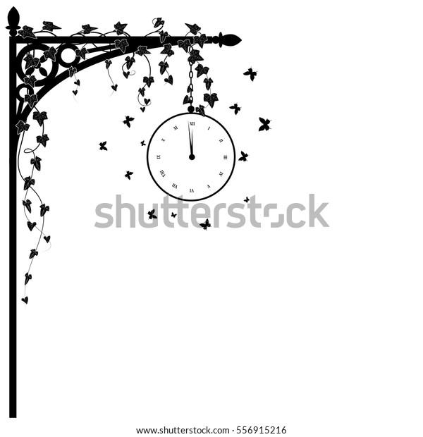 Vector Illustration Corner Design Clock Ivy Stock Vector