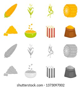 Vector illustration of cornfield and vegetable symbol. Collection of cornfield and vegetarian stock vector illustration.