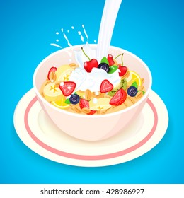 Vector illustration of Cornflakes cereal with strawberries,blueberries,cherries,banana with milk splashes in white bowl isolated on blue background.