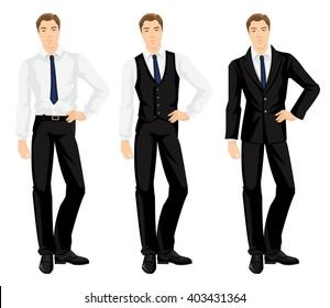Vector illustration of corporate dress code. Young man in formal clothes
