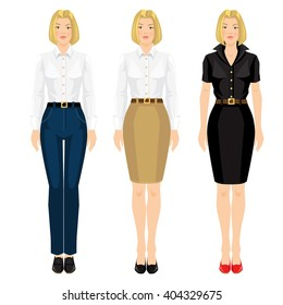 Vector illustration of corporate dress code. Pretty blond girl in formal clothes. Base wardrobe.
