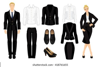 Vector illustration of corporate dress code. Secretary or professor in black formal suit and shoes. Clothes for man and woman