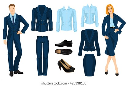 Vector illustration of corporate dress code. Business people isolated isolated on white background. Blue formal clothes for man and woman. Black classic shoes