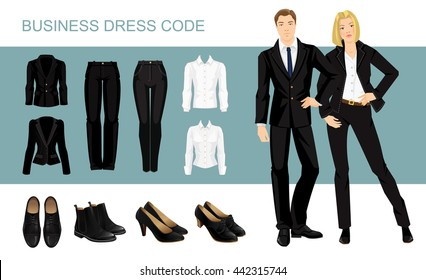Vector illustration of corporate dress code. Secretary or professor in black suit and formal shoes.