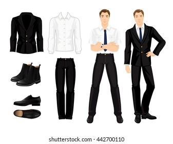 Vector illustration of corporate dress code. Business man or professor in formal clothes and black shoes