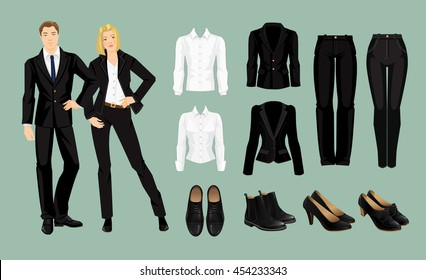Vector illustration of corporate dress code. Business people in black formal suit and shoes
