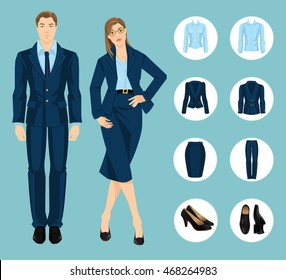 Vector illustration of corporate dress code. Business people isolated isolated on color background. Blue formal clothes and black shoes
