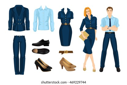 Vector illustration of corporate dress code. Business people isolated isolated on white background. Blue formal clothes and black shoes