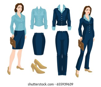Vector illustration of corporate dress code. Business people isolated isolated on white background. Blue formal clothes and classic shoes