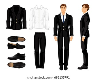 Vector illustration of corporate dress code. Man's white shirt, black suit and shoes isolated on white background. Businessman or teacher in black formal suit and shoes. Front view and side view man.