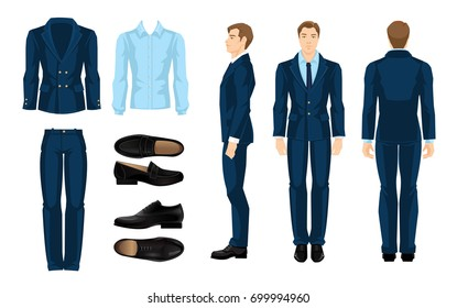 Vector illustration of corporate dress code. Businessman or professor in formal suit and shoes. Front view and side view.. Blue shirt, suit and black shoes isolated on white background.