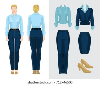 Vector illustration of corporate dress code. Business woman or secretary in formal clothes. Front view, side and back view. Woman in blue blouse, pants and beige shoes isolated on white background.