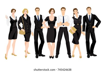 Vector illustration of corporate dress code. Business people in formal clothes. Base wardrobe. Man and woman in different pose isolated on white background