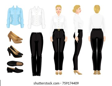 Vector illustration of corporate dress code. Business woman or professor in  formal clothes. Front view, side and back view. White and blue shirt, black pants and shoes isolated on white background.